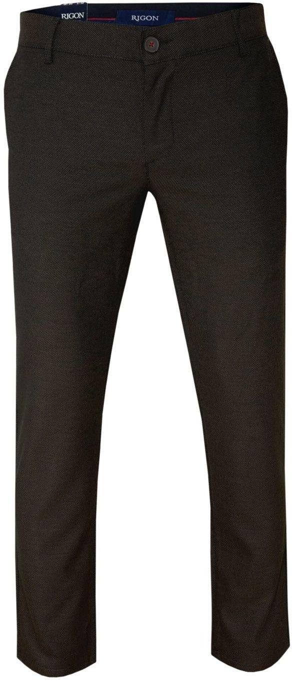 Brązowe Casualowe Męskie Spodnie -RIGON- Zwężane, Tłoczony Wzór, Chinosy SPRGN2202EGEv8kahve