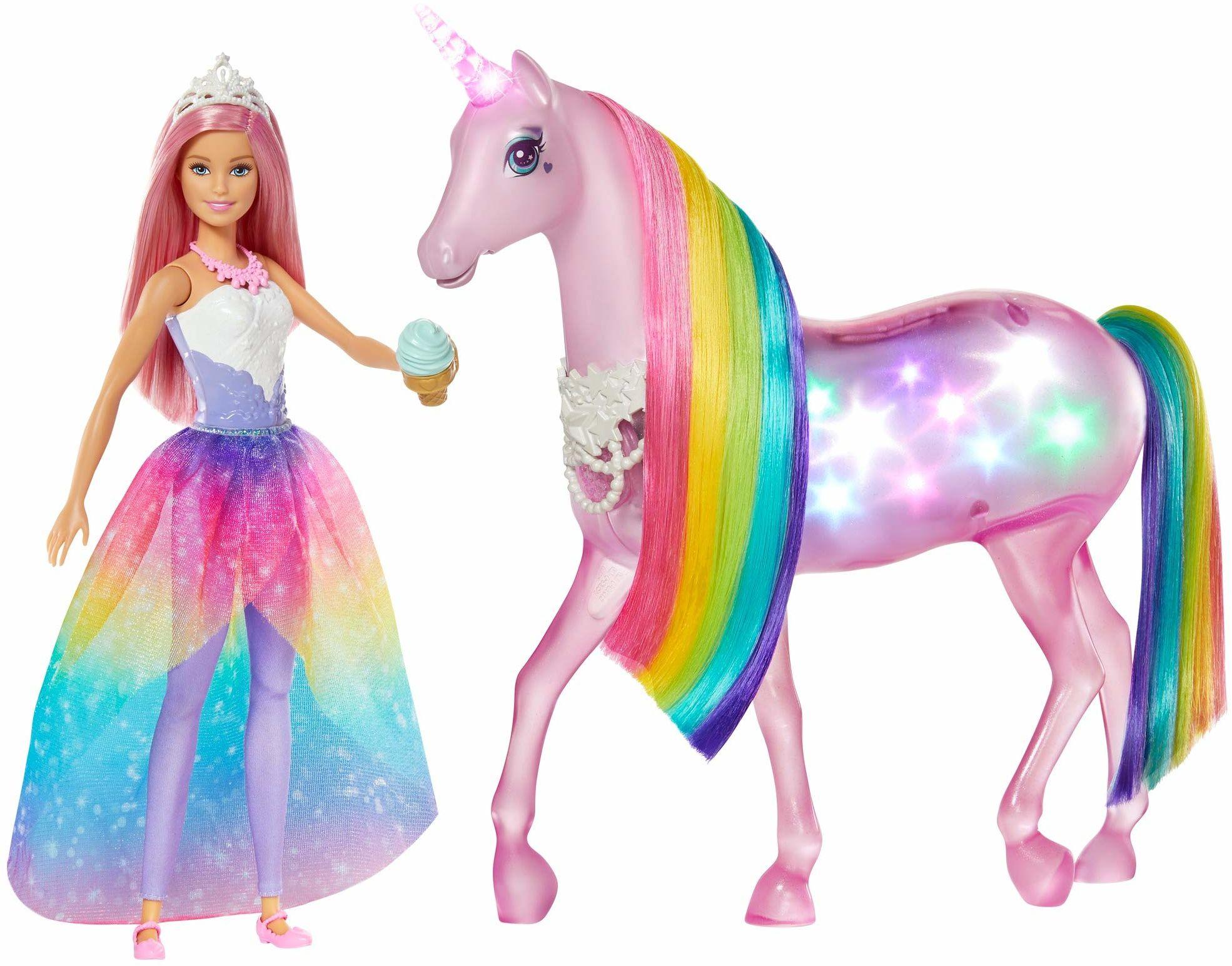 Barbie GWM78 , Dreamtopia Jednorożec Magia Świateł Z Tęczową Grzywą, Światłami I Dźwiękami I Lalka Księżniczka Z Różowymi Włosami Gwm78