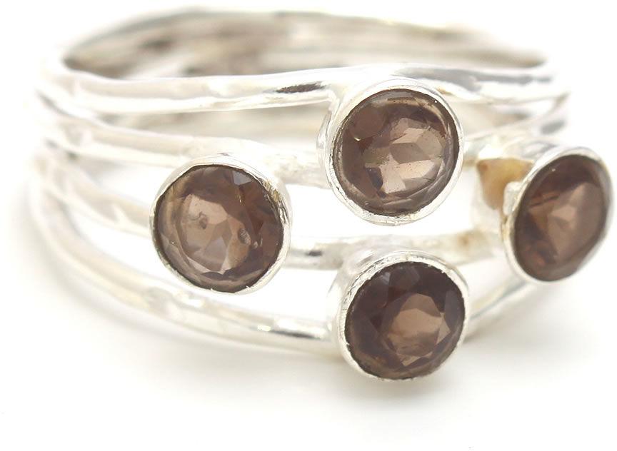 Kuźnia Srebra - Pierścionek srebrny, rozm. 11, Kwarc Dymny, 3g, model