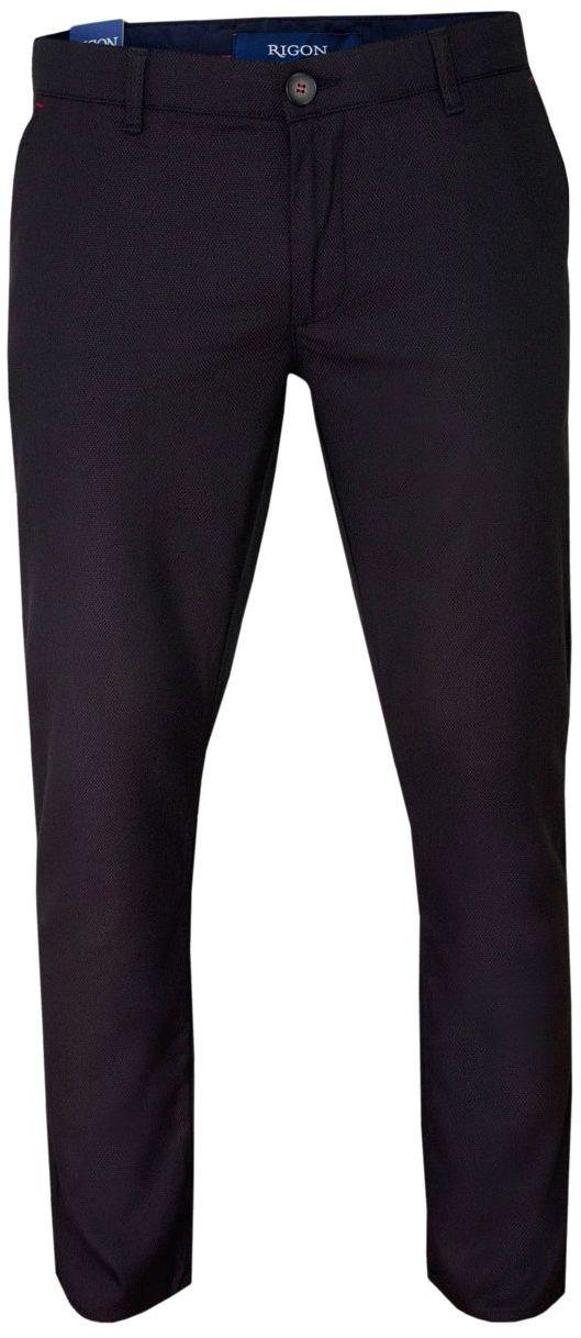 Ciemne Bordowe Casualowe Męskie Spodnie -RIGON- Zwężane, Chinosy, Tłoczony Wzór SPRGN2202EGEv10bordo