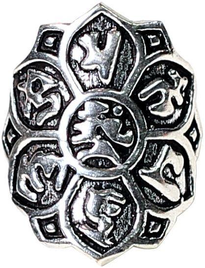 Om mani padme hum - pierścień (mosiądz - kolor srebrny)
