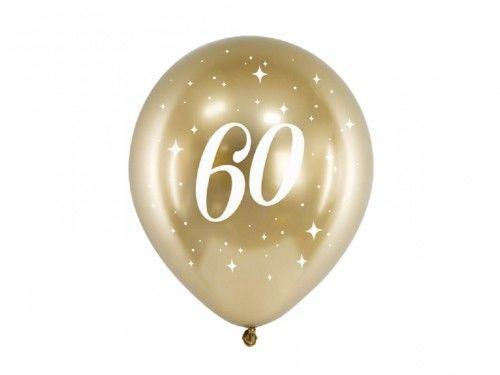 Balony Glossy na 60 urodziny złote, 6 szt.