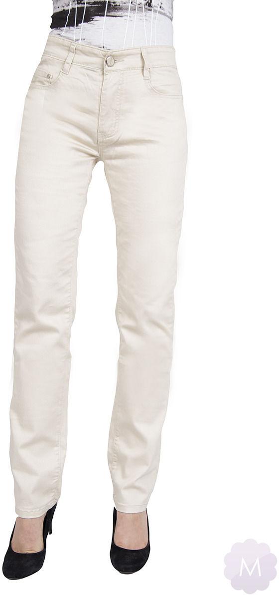 Beżowe spodnie jeansowe z wyższym stanem z prostą nogawką (E6235-2) - PROSTA NOGAWKA ( straight )