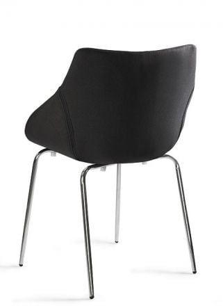 Krzesło LUMI czarne z przeszyciami na nogach ze stali chromowanej  KUP TERAZ - OTRZYMAJ RABAT