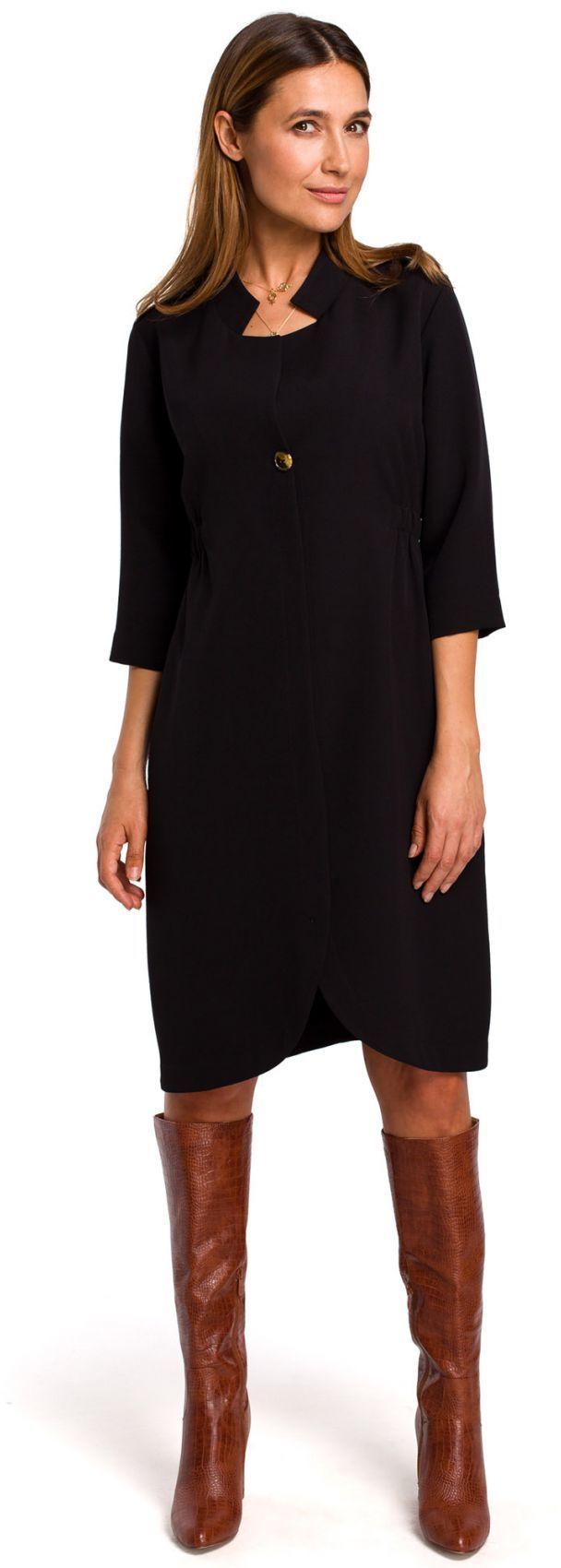 S189 Sukienka żakietowa z gumką w tyle - czarna