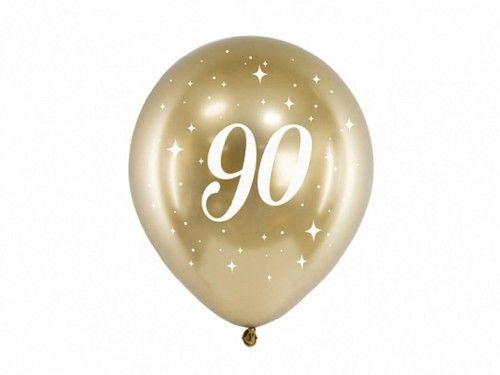 Balony Glossy na 90 urodziny złote, 6 szt.