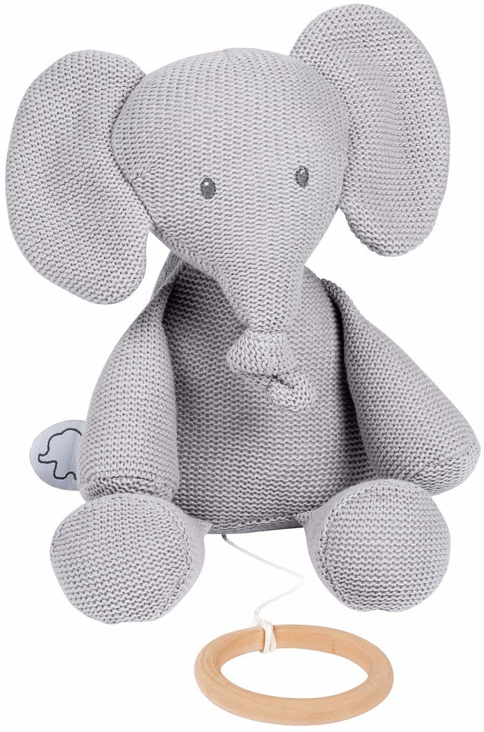 Nattou 929028 Tembo Cotton Knitted Elephant Musical Soft Toy pozytywka, szara (dzianina), 28 cm