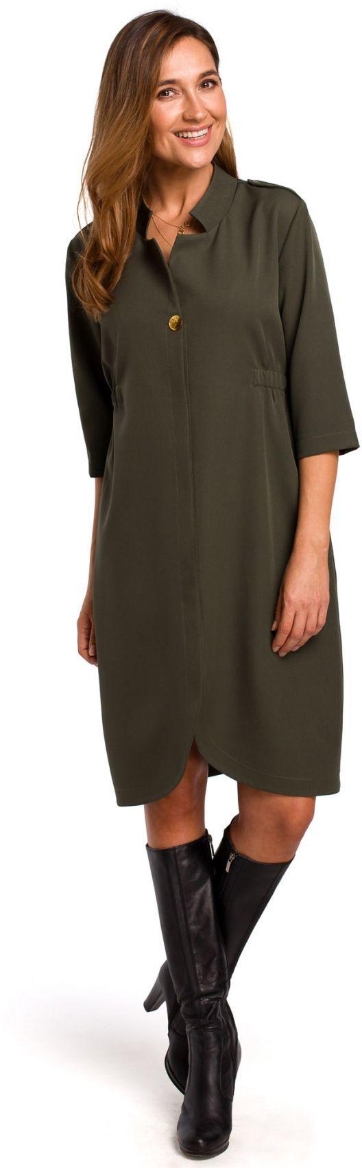 S189 Sukienka żakietowa z gumką w tyle - khaki
