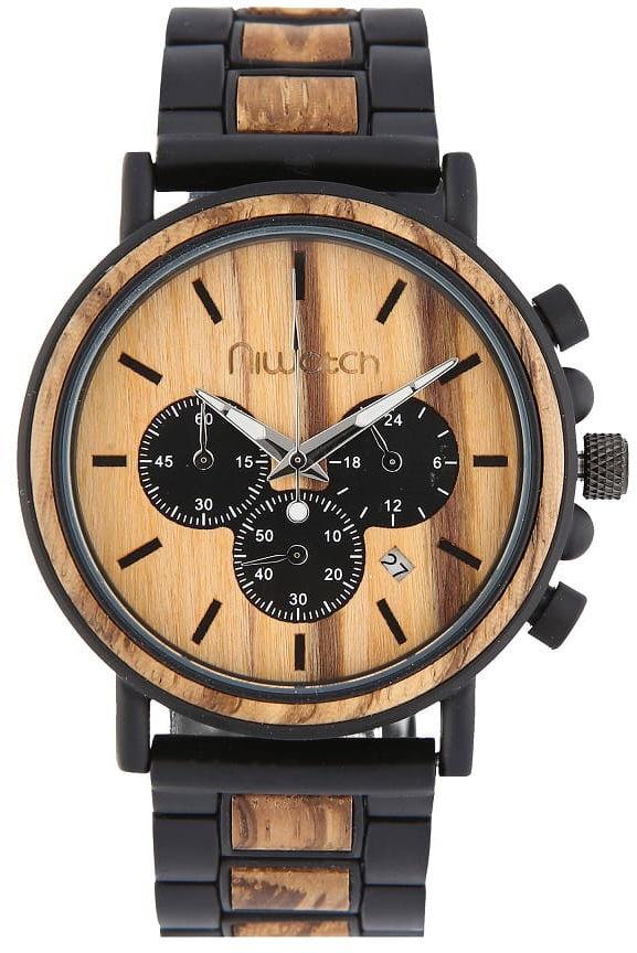 Zegarek drewniany Niwatch - kolekcja ROYAL - ZEBRAWOOD na bransolecie