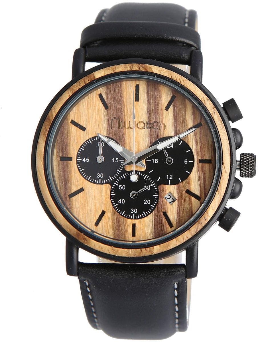 Zegarek drewniany Niwatch - kolekcja ROYAL - ZEBRAWOOD na czarnym pasku