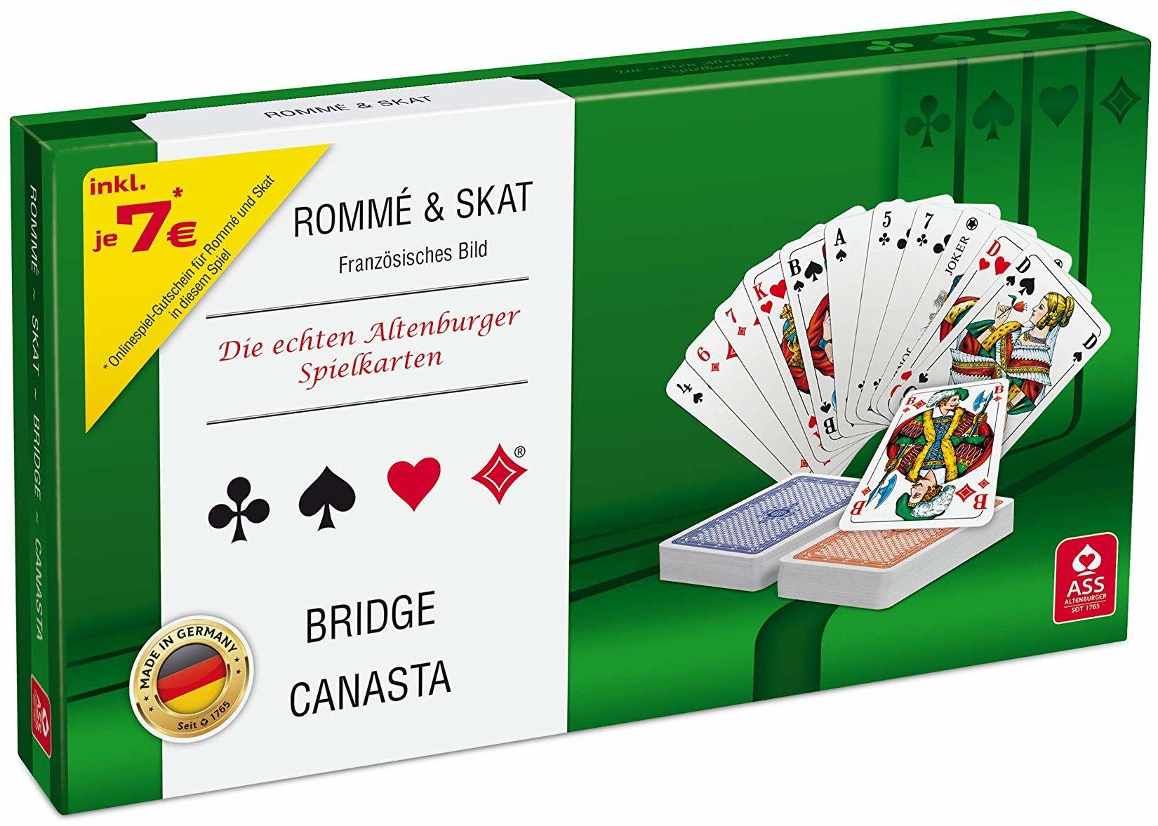 ASS Altenburger 22570188 kasetka na karty do gry  obraz francuski, w przyjaznym dla środowiska pudełku do gry Rommé, Skat, Bridge Canasta