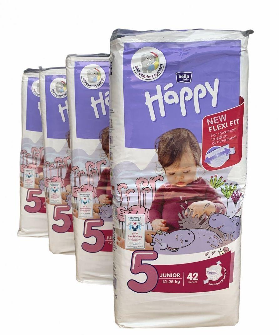 4xBella Happy Rozmiar 5 Junior,42 pieluszki,12-25 kg