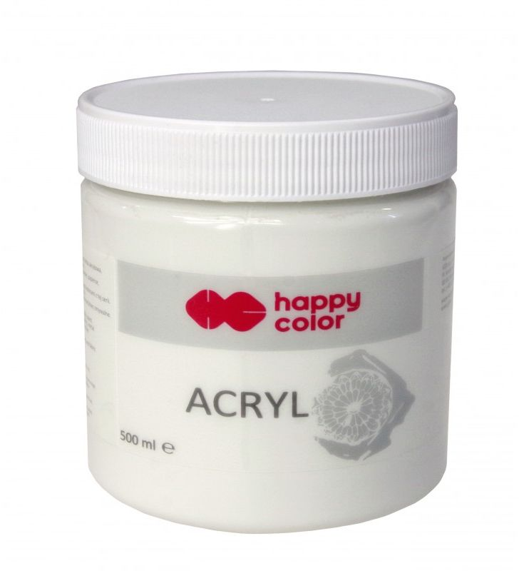Farba akrylowa biel tytanowa Happy Color 500ml 5938-FA-HC-500