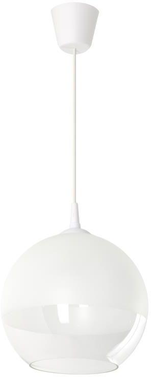 Lampex Sakura 760/1 lampa wisząca nowoczesna dwuczęściowy klosz w kształcie kuli biały przeźroczysty E27 1x60W 25cm