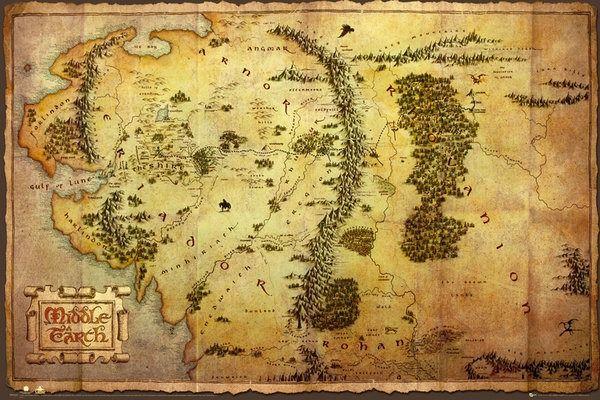 The hobbit mapa śródziemia - plakat