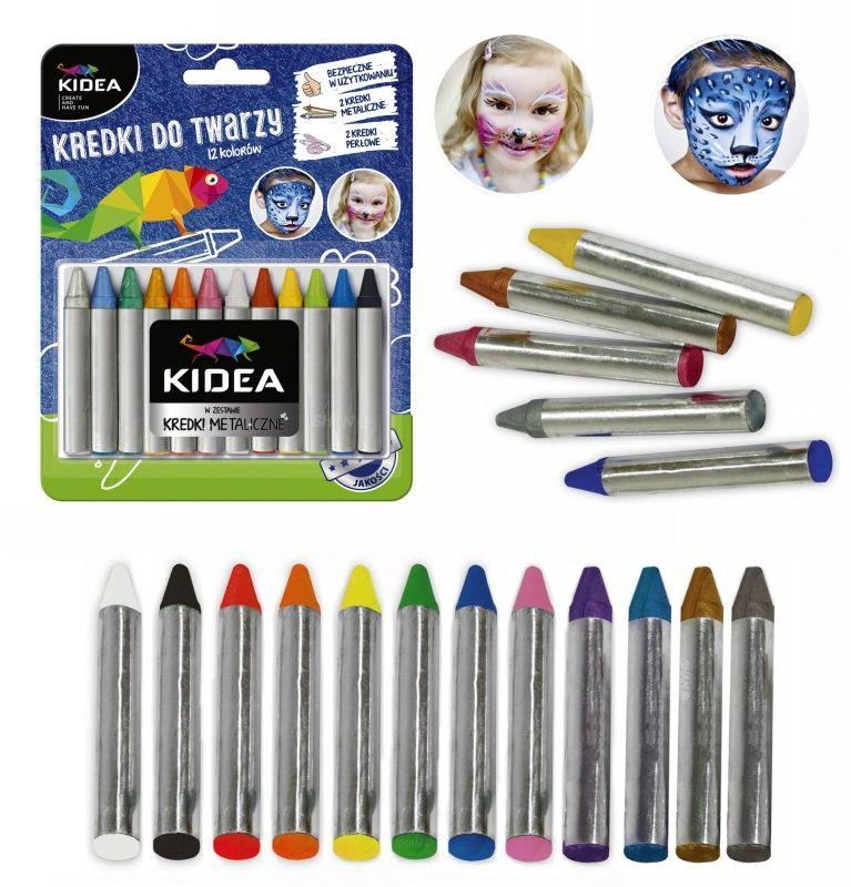 Kredki do twarzy 12 kolorów x 2,5 g Kidea 5940-KREDKI-DT