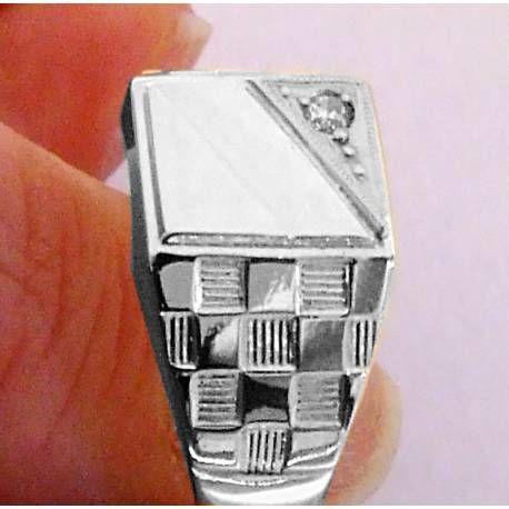 Sygnet srebrny,męski nowy wzór szachownica 0,925