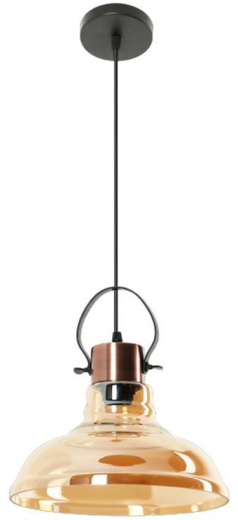 Lampex Mandy 768/1 lampa wisząca szklany klosz metalowe zawiesie miedziane E27 1x60W 30cm