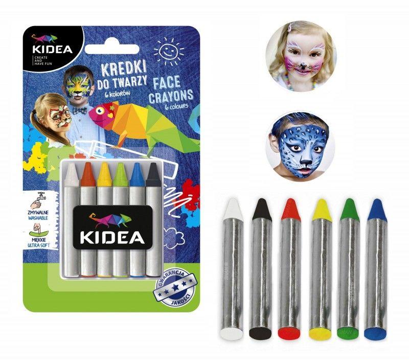 Kredki do twarzy 6 kolorów x 2,5 g Kidea 5942-KREDKI-DT