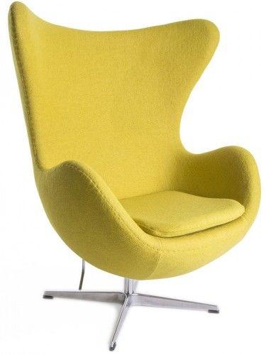 Musztardowy Fotel JAJO Inspirowany Projektem Egg Chair