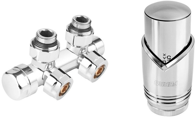 Zestaw termostatyczny kątowy, chrom, rozstaw 50mm + złączki CU fi15 i pex 16x2