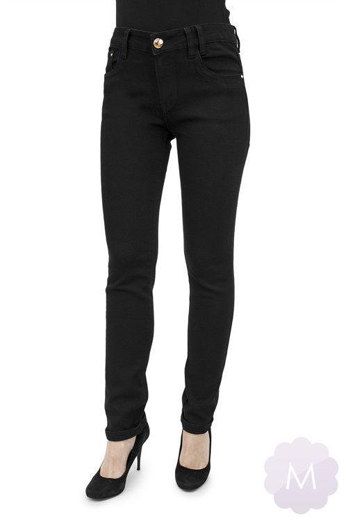 Damskie spodnie jeansowe czarne lekko zwężane z wysokim stanem Miss RJ