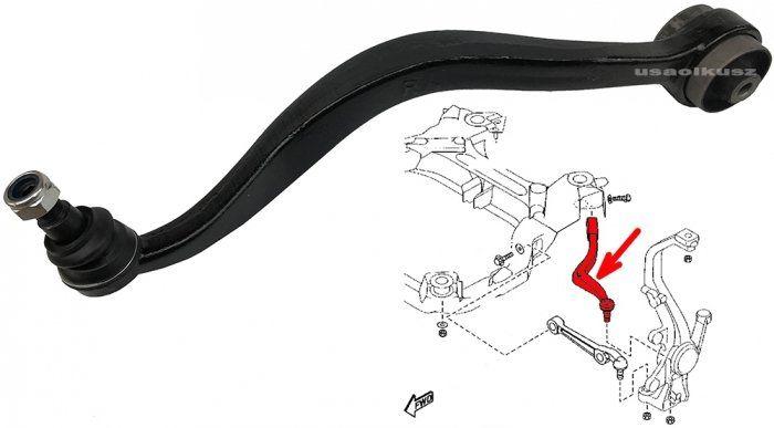 Wahacz dolny przedni prawy - tylny wygięty Ford Fusion -2012