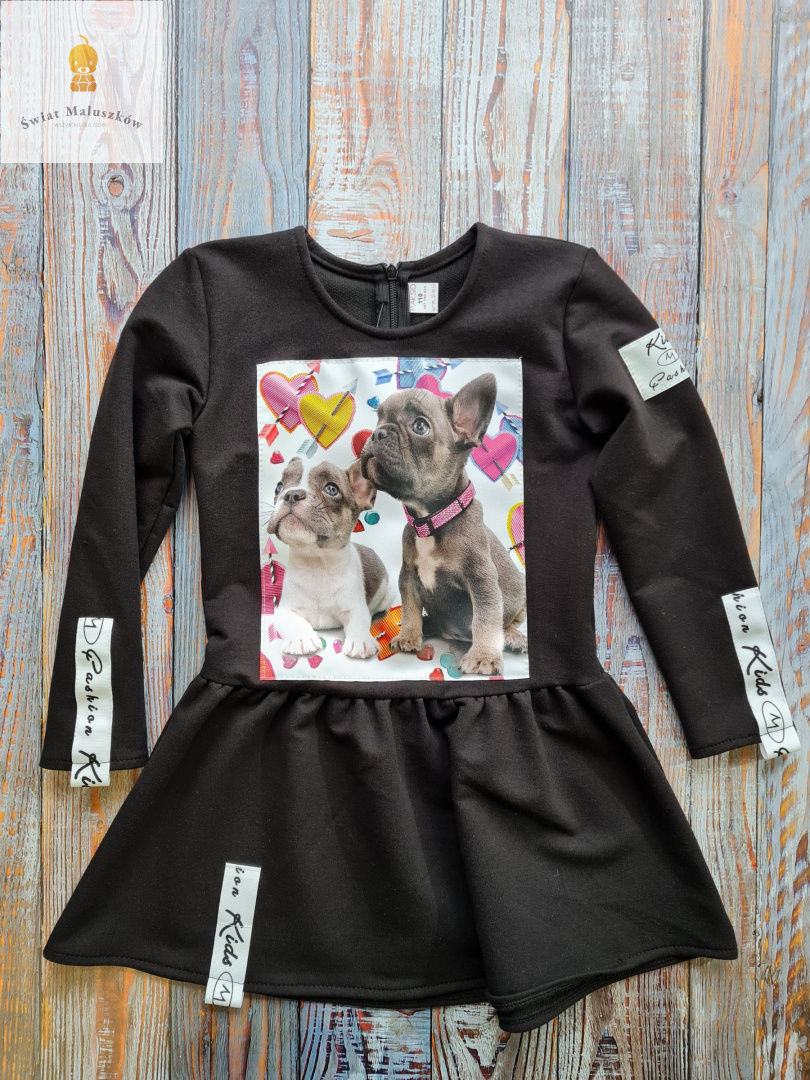 Kids fashion Sukienka dla dziewczynki z pieskami dł. rękaw r.98-128