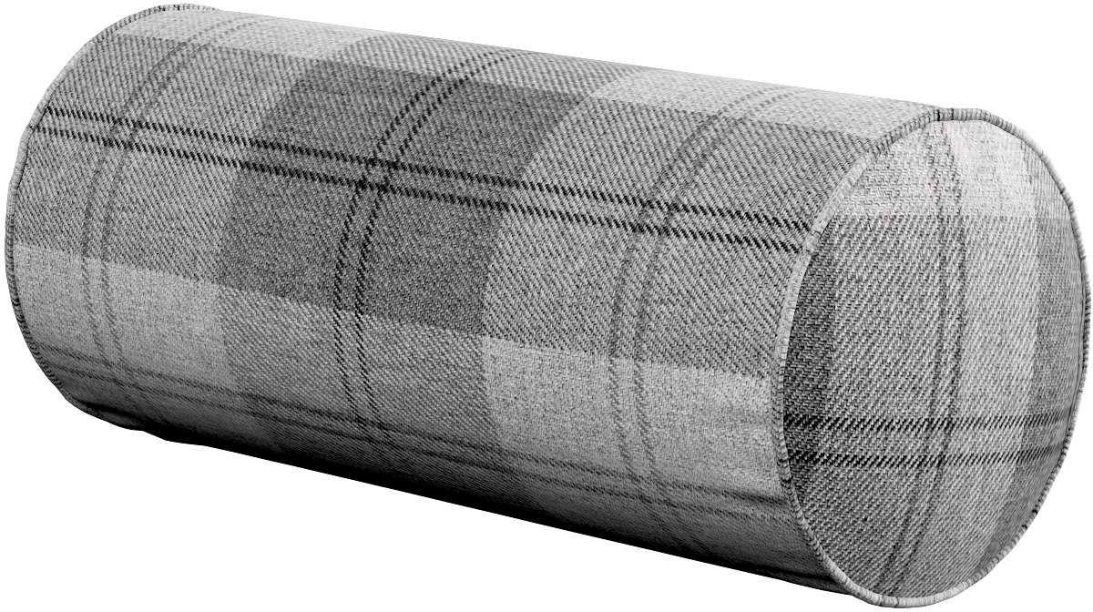 Poduszka wałek prosty, krata szaro-grafitowa, Ø16  40 cm, Edinburgh