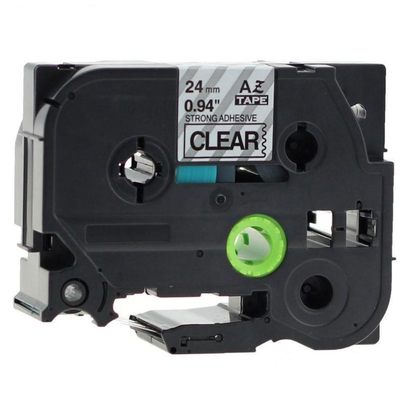 Taśma zamiennik Brother TZ-S151 / TZe-S151, 24mm x 8m, mocno klejący, czarny druk / przezroczysty podkład