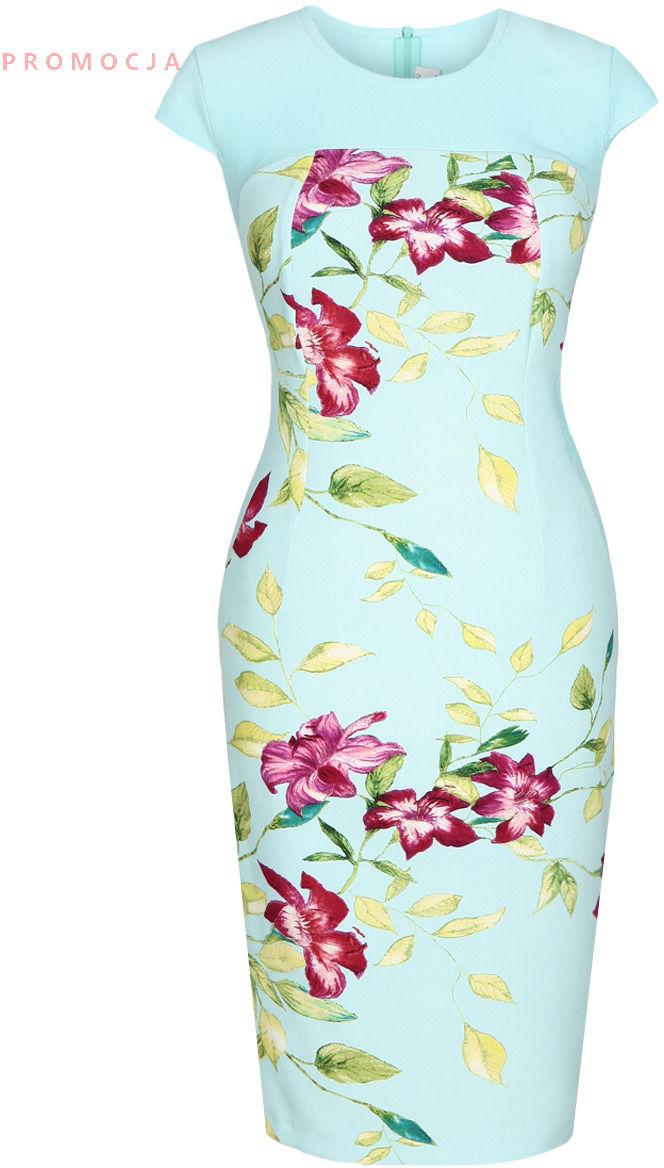 Sukienka FSU686 TURKUSOWY ŚREDNI kwiat