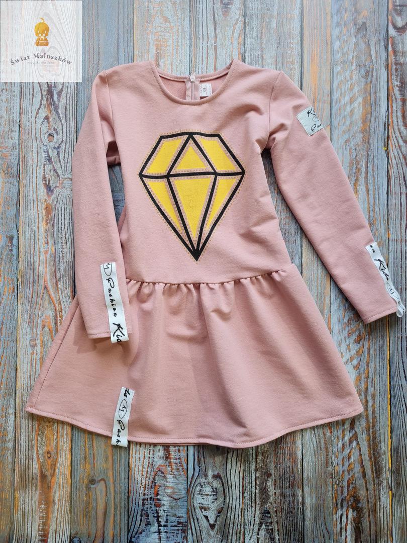 Fashion kids Sukienka dla dziewczynki z diamentem różowa r.98-128