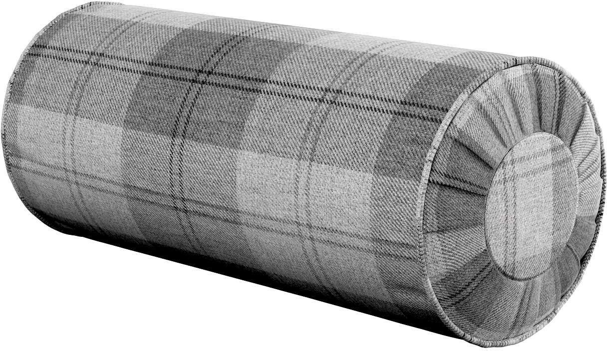 Poduszka wałek z zakładkami, krata szaro-grafitowa, Ø20  50 cm, Edinburgh
