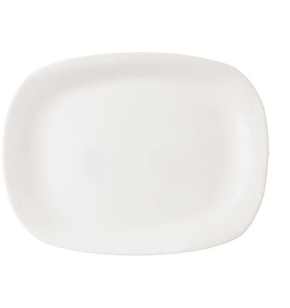 Półmisek szklany, biały, prostokątny, talerz, patera szklana, 28x21 cm