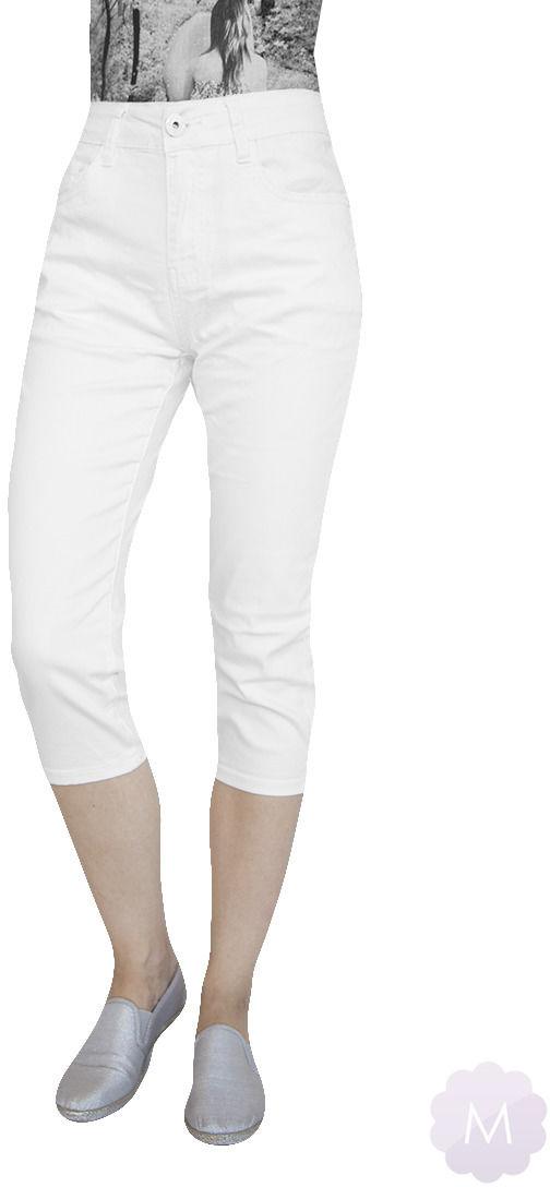 Białe elastyczne spodenki 3/4 jeansowe z wysokim stanem firmy Goodies (VF809-Bi)