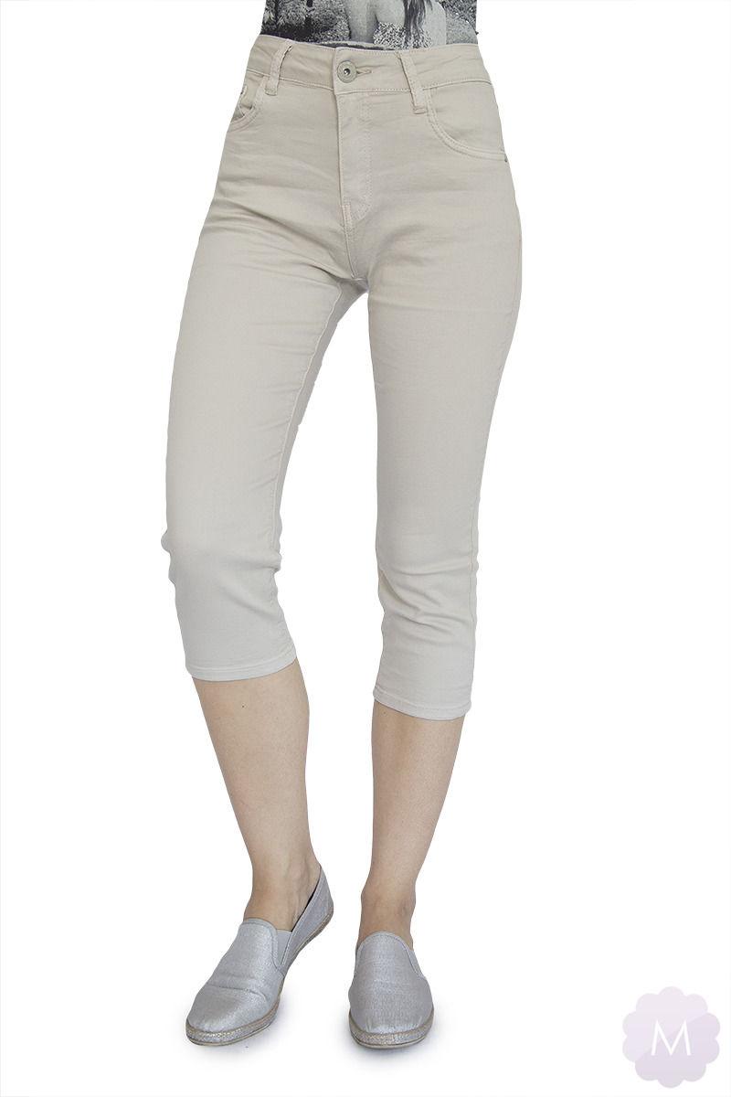Beżowe elastyczne spodenki 3/4 jeansowe z wysokim stanem firmy Goodies (VF809-Bż)