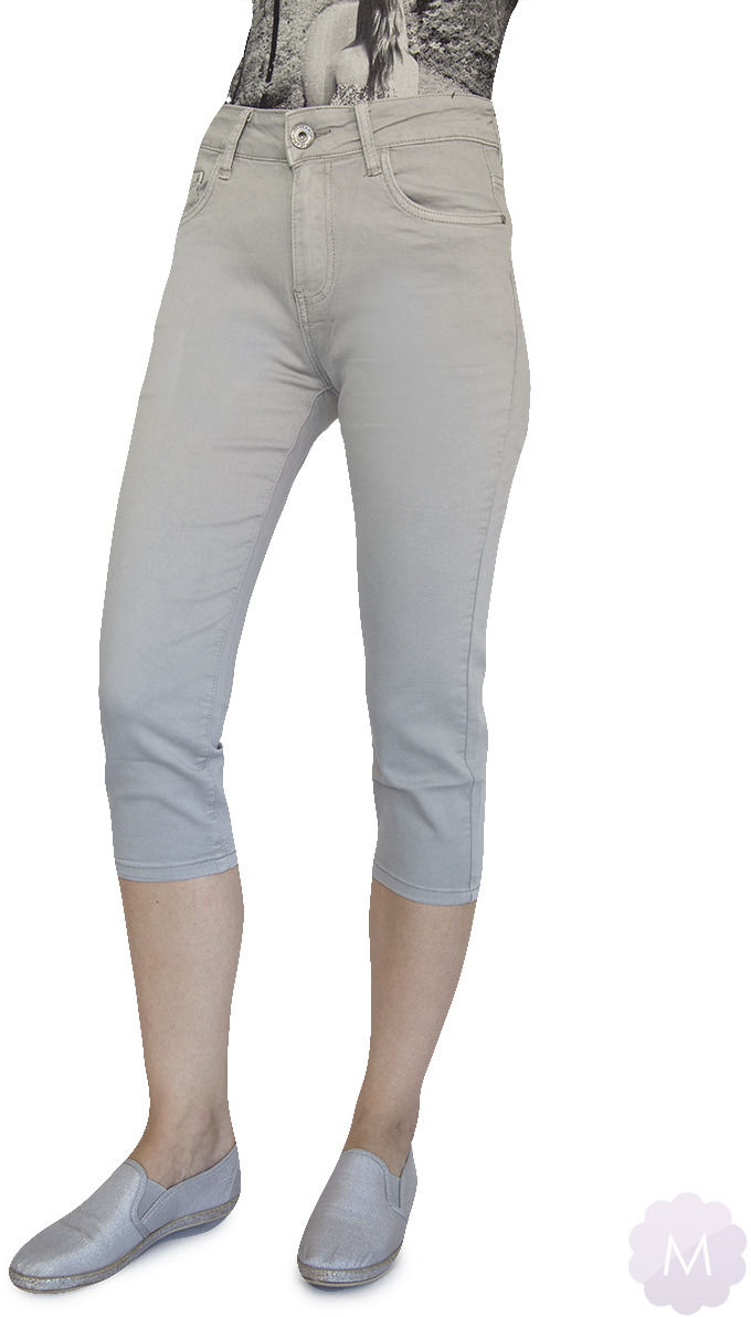 Szare elastyczne spodenki 3/4 jeansowe z wysokim stanem firmy Goodies (VF809-BI)