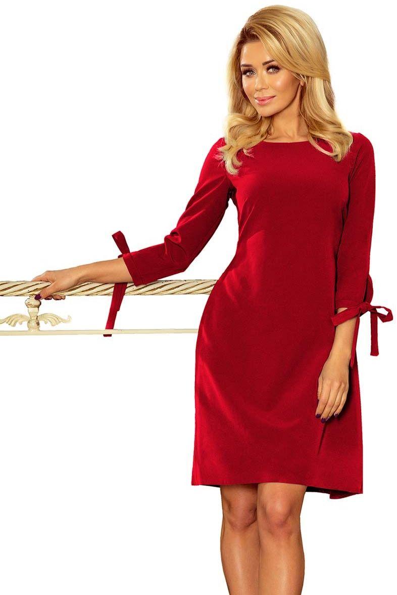 Koktajlowa bordowa sukienka z wiązaną kokardką przy rękawach