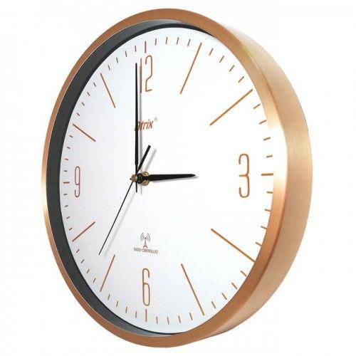 Zegar aluminiowy złoty sterowany radiowo #1