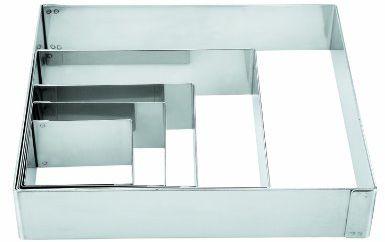 Lacor-68460-ST. Stalowa forma do ciasta kwadratowego 6 x 6 cm.