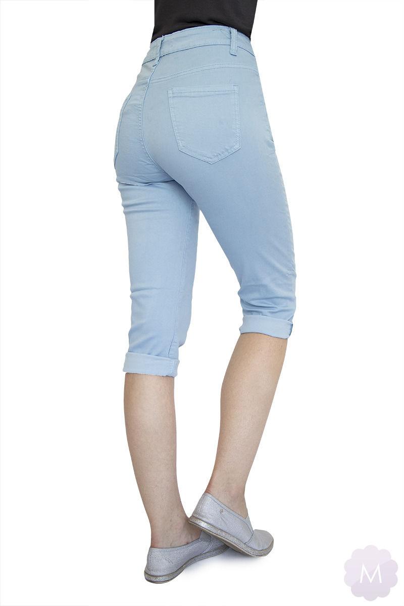 Błękitne elastyczne spodenki 3/4 jeansowe z wysokim stanem firmy Goodies (VF809-Bł)
