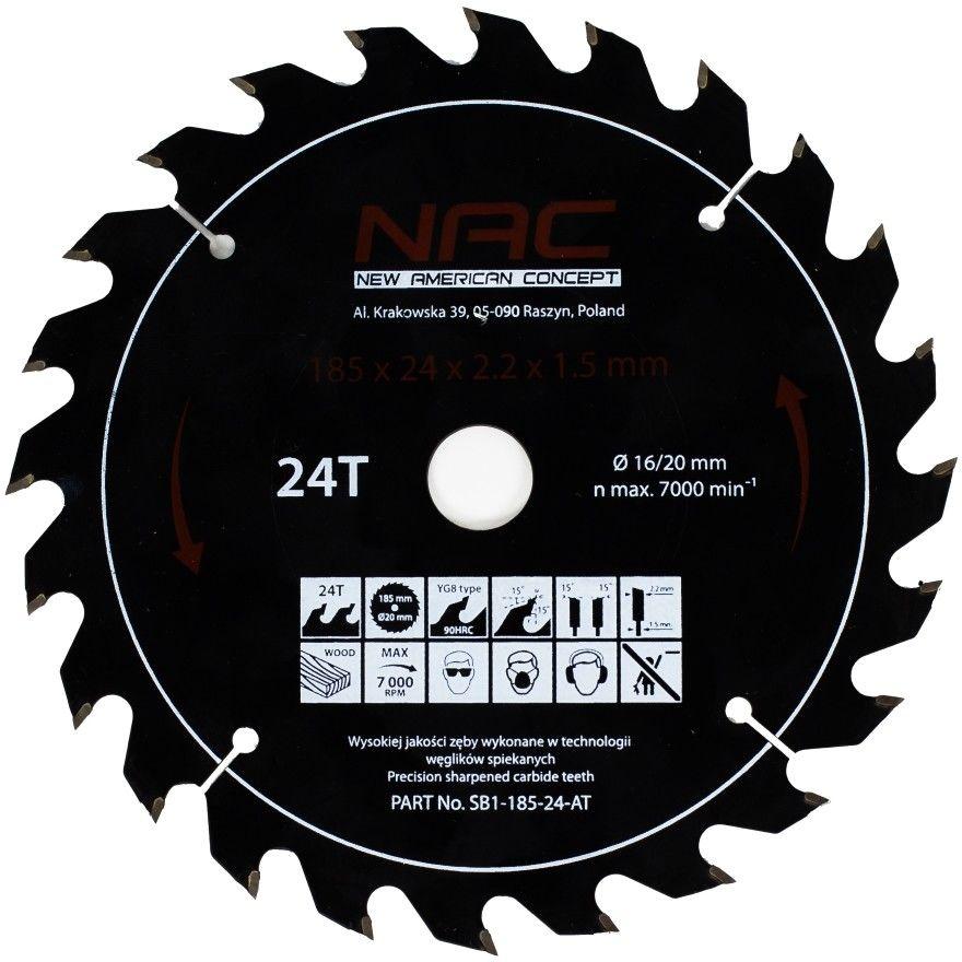 Tarcza widiowa do drewna NAC SB1-185-24-AT