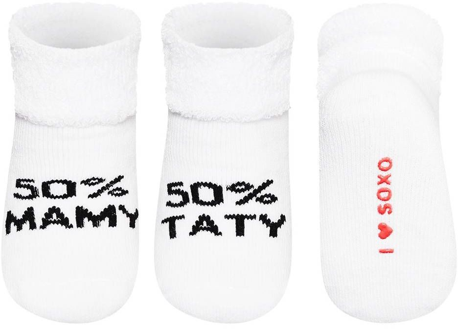 Skarpety SOXO frotki 50% mama, 50% tata - biale