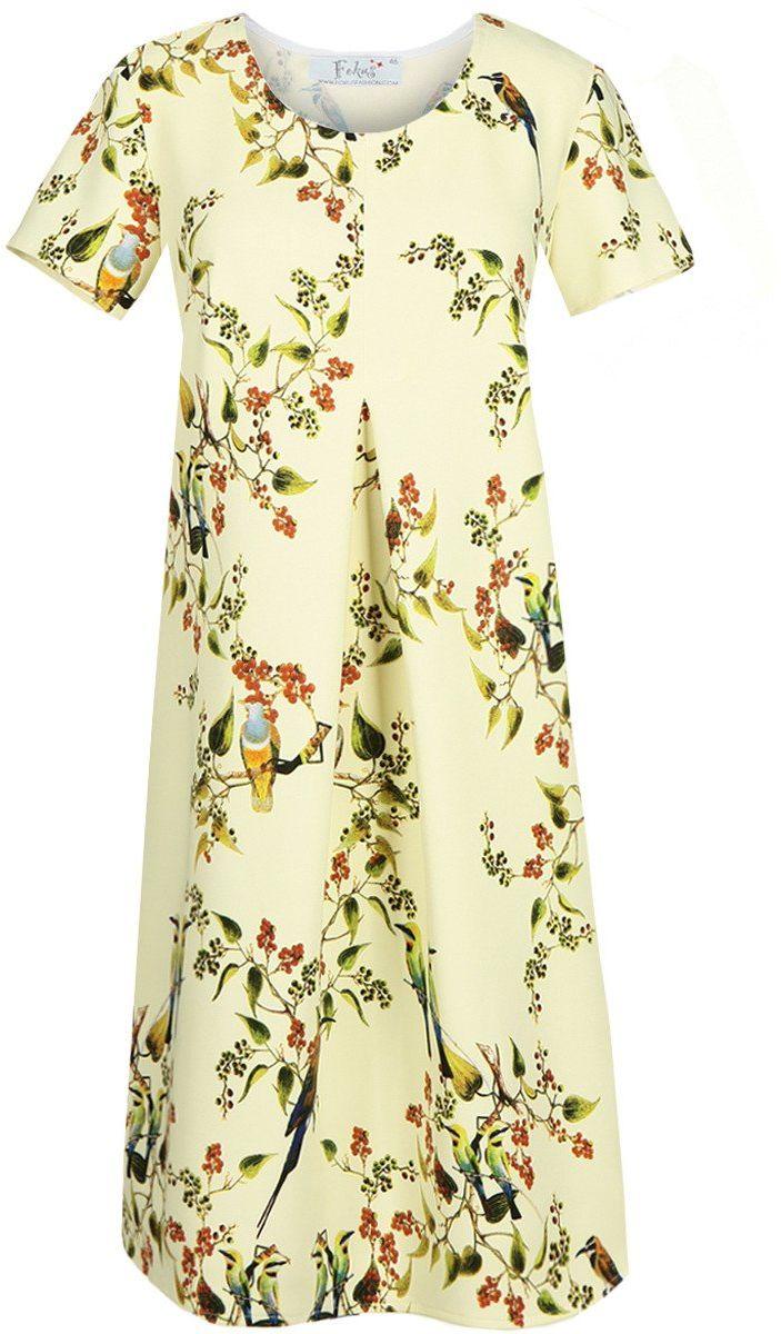 Sukienka FSU685 ŻÓŁTY JASNY ptak