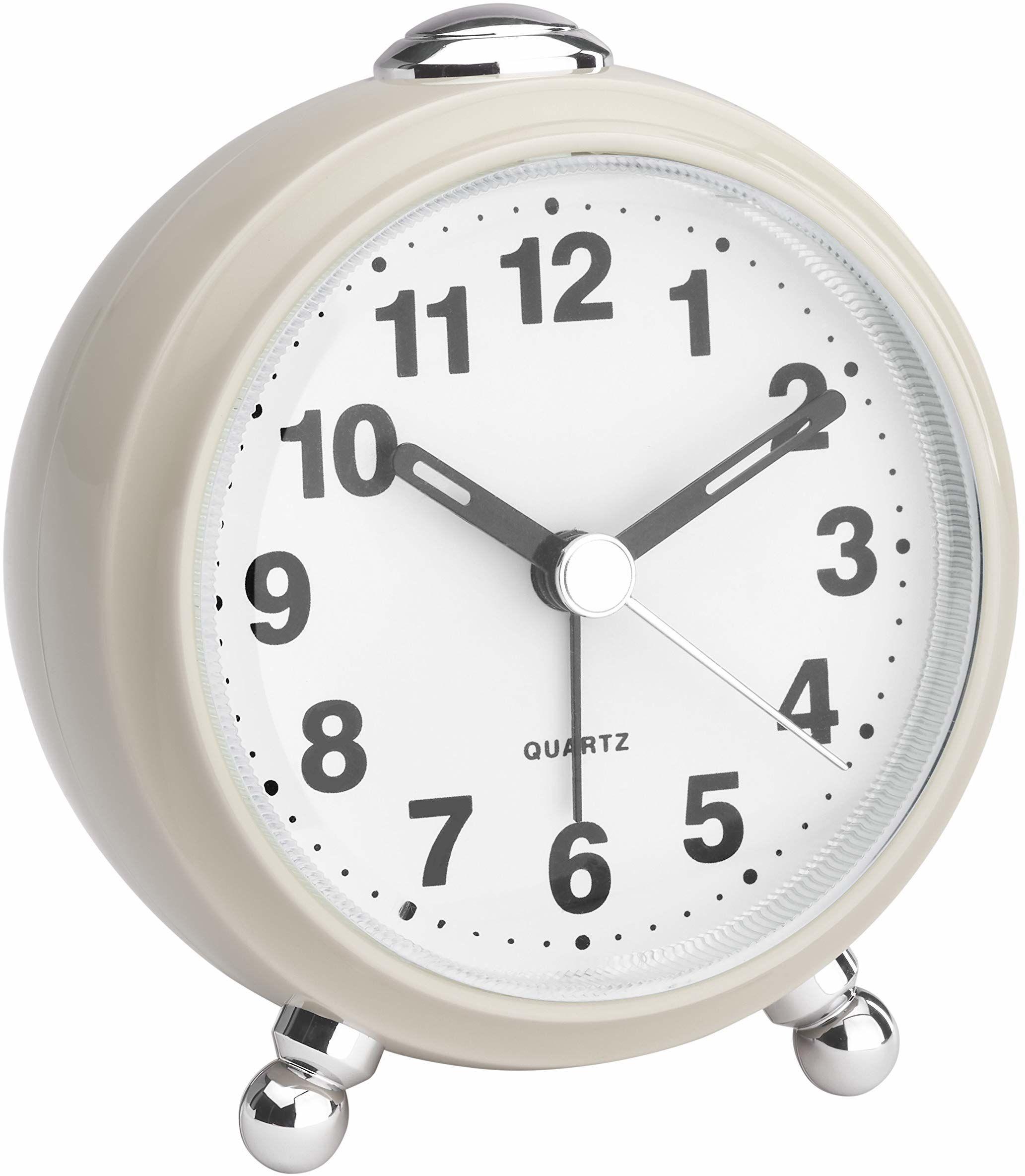 TFA Dostmann analogowy budzik, w stylu retro, cichy mechanizm zegarowy, tworzywo sztuczne, beżowy, (dł.) 83 x (szer.) 53 x (wys.) 92 mm