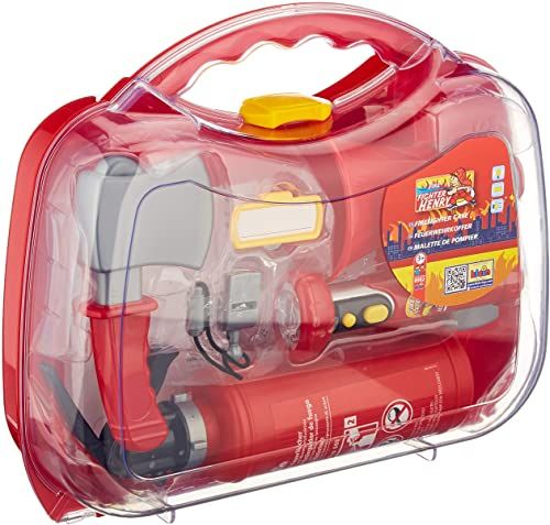 Theo Klein 8982 Fire Fighter Henry walizka strażacka I Łącznie z gaśnicą z funkcją pryskania I latarka na baterie i wiele akcesoriów I Wymiary: 33,5 cm x 10 cm x 28,1 cm