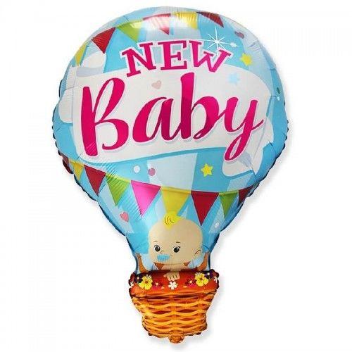 Balon foliowy Bobas w balonie - New Baby, niebieski