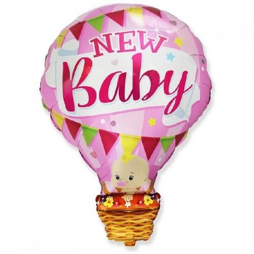Balon foliowy Bobas w balonie - New Baby, różowy