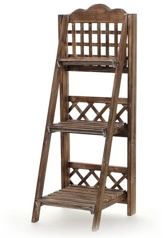 Drewniany stojak z trzema półkami Kwietnik kaskada Brązowy wys. 100 cm