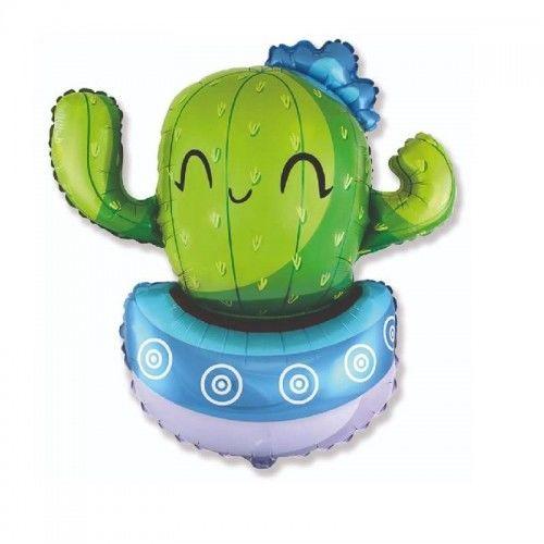 Balon foliowy Kaktus w niebieskiej donicy